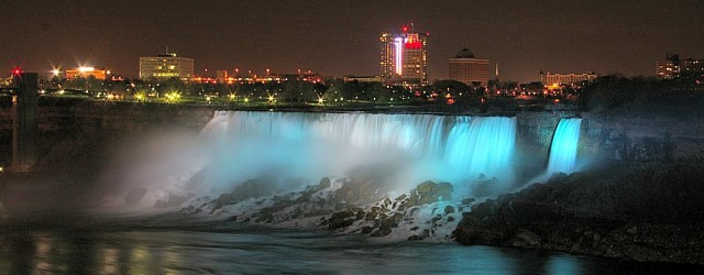 Both the American and Canadian Falls are lit with an array of colours at Night throughout the year. This night photo of the American Falls was shot in October.